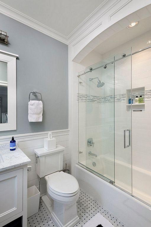 22 Small Bathtub Design Ideas With Glass Door With Images Bathroom Tub Shower Combo Bathroom Remodel Designs Bathroom Tub Shower