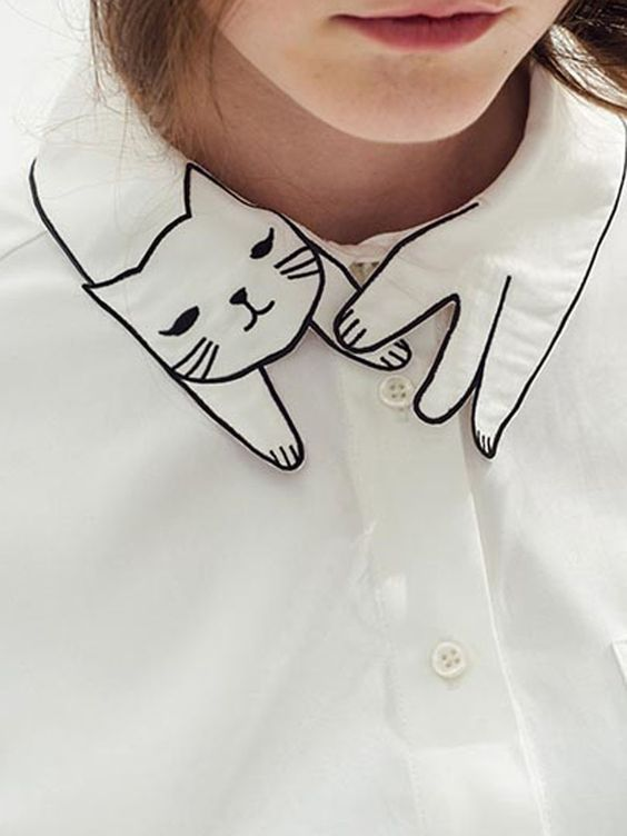 White shirt with embroidered cat collar detail; creative sewing idea; whimsical fashion design details: