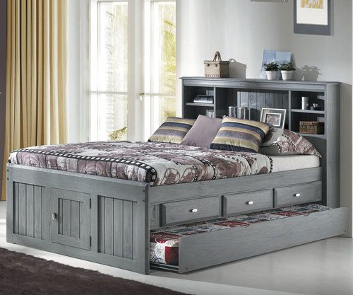 Westport Gray Full Bookcase Captains Trundle Bed Diy Furniture