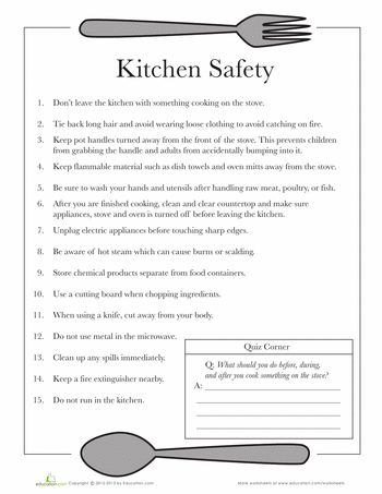 Kitchen Safety | Safety, Worksheets and Kitchens Worksheets: Kitchen Safety. And on the website they have other free printable sheets.