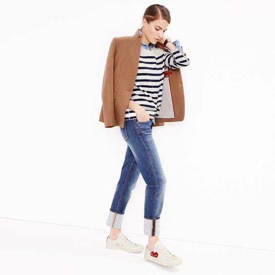 J.Crew Looks We Love: women's Regent blazer, striped ponte sweatshirt, always chambray shirt, slim broken-in boyfriend jean in brentcove wash, Mougin & Piquard™ chronovintage watch and Comme des Garçons® low-top sneakers.: