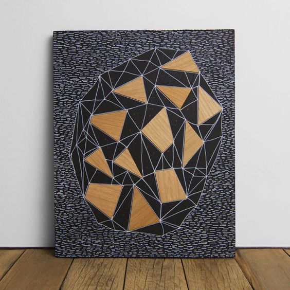 "Geode 1 - Original 8"" x 10"" Art, Wood Veneer & Illustration on Matte Black Wood Panel"