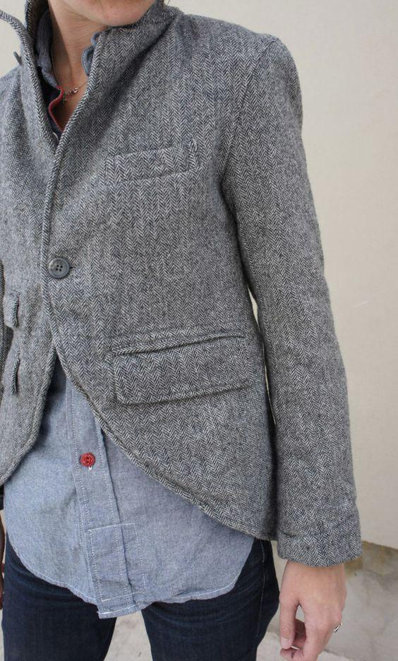 Tweed menswear blazer / Arrowandarrow. Could probably DIY with regular blazer, just cut and sew the front.
