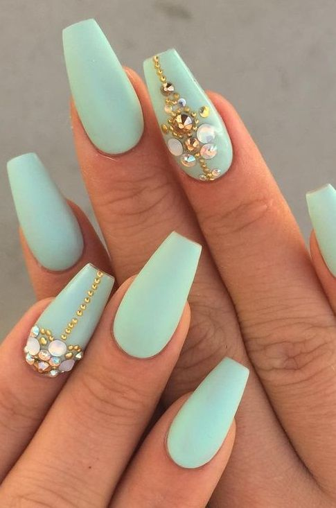 60 Gorgeous Coffin Acrylic Nails You Will Like In 2020 Mint Green Nails Green Nails Fun Nails