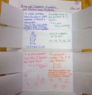 Prime and Composite Numbers, Factors and Multiples math journal entry @ Runde's Room