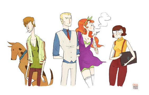 Illustrator: Noelle Stevenson: Concept Art, Doo Gang, Cartoons Prints Images, Comics Doodles Illustrations, Doo Hipster, Badass Scooby, Cartoons Characters Misc
