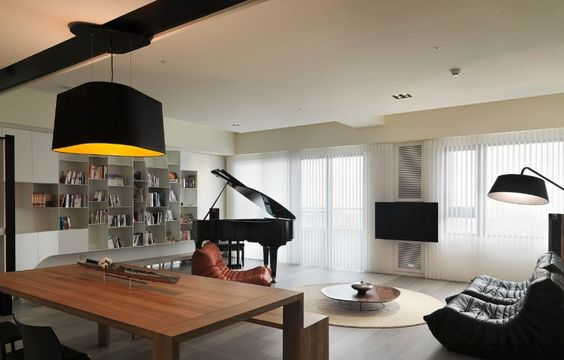 Taiwanese apartment with simple layout and punchy palette interiors contemporary modern pinterest dining bench flats and interiors