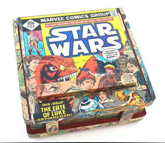 (http://www.papervsglue.com/vintage-star-wars-comic-book-cigar-box/)  Vintage Star Wars Comic Book Collage Cigar Box