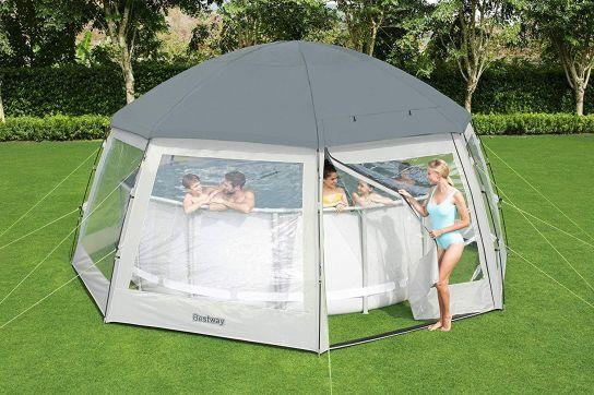 Round Pool Dome 6 Metre 58612 Mobile Pool Enclosures Pool Enclosures Round Pool Swimming Pool Enclosures