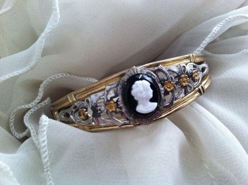 Vintage ALLCO cameo silver tone bracelet cuff