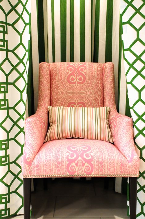 Chair tucked into alcove.