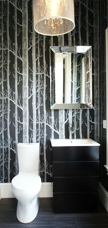 Wallpapers bathroom and powder rooms on pinterest for Cool bathroom wallpaper