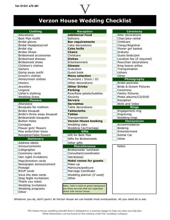 wedding ceremony checklist | Wedding Checklist Tel 01531 670 381 ...