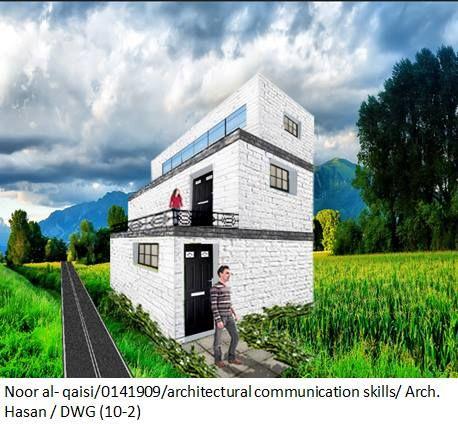 حذف الطريق واستبدالها بمسار يتناسب مع طبيعة الارض تكبير الشخص الموجود على الشرفة تظليل المستويات اليسرى من المبنى: