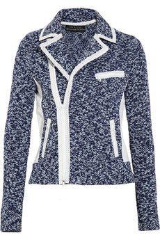 Rag & Bone  Haver leather-trimmed marl-knit cotton jacket