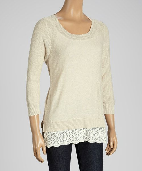 This Joseph A Cappuccino & White Color Block Scoop Neck Sweater by Joseph A is perfect! #zulilyfinds