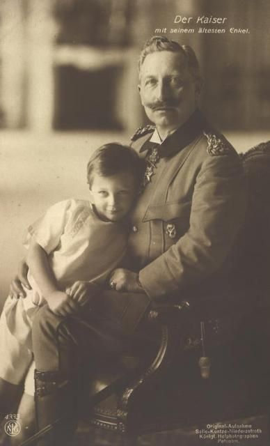 "Absolutely precious photo of a mischievous looking Prince Wilhelm with his proud opa, Kaiser Wilhelm II.  (""Opa"", in cause you didn't know, is German for ""grandpa"".):"