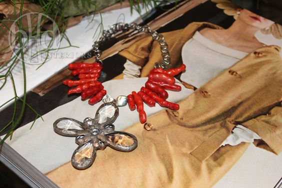 Jamie Dietrich necklace with red coral and large flower.