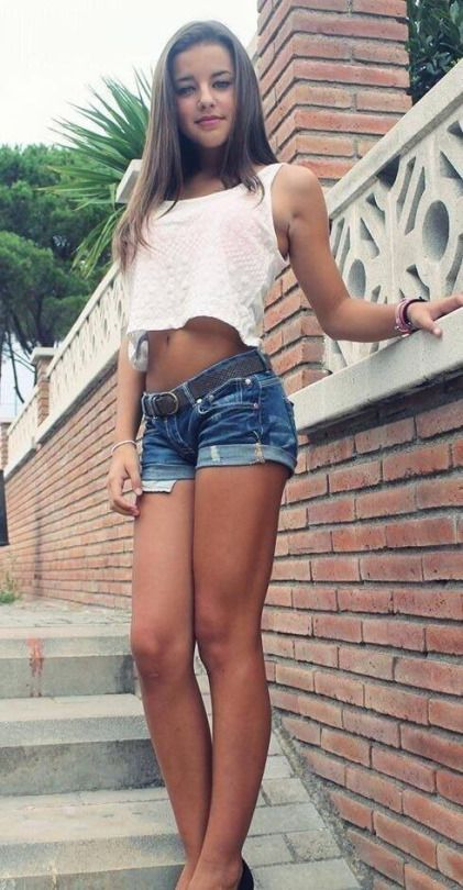shorts jean teen Young tight girl