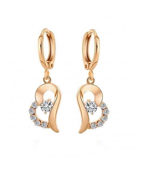 Women/'s Earrings Heart Hoops 18k Yellow//White Gold Filled Fashion Jewelry
