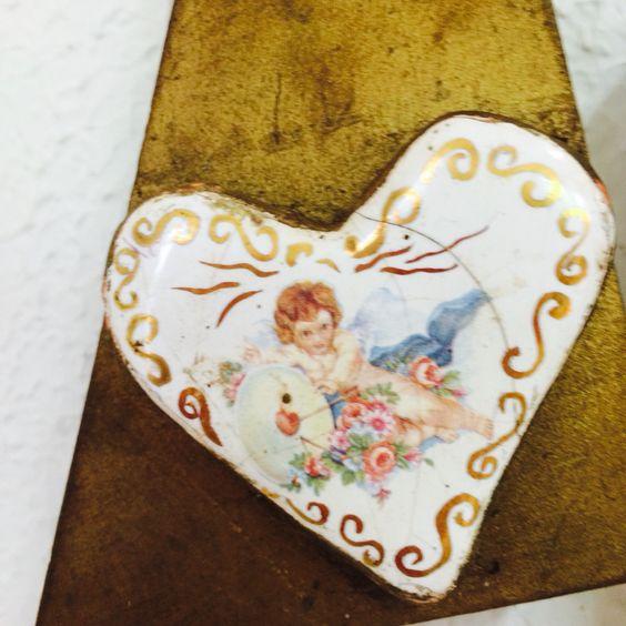 Ceramica para mosaico com pintura em alta temperatura e decalque de Anjos e detalhe com ouro