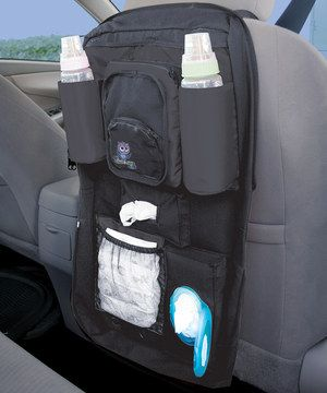 Keep everything that Baby might need while on the road in this convenient car organizer that installs behind either front seat. Featuring a durable construction and plenty of pockets for diapers, wipes, bottles and more, it is the perfect way for parents to stay prepared of an infant's every need.