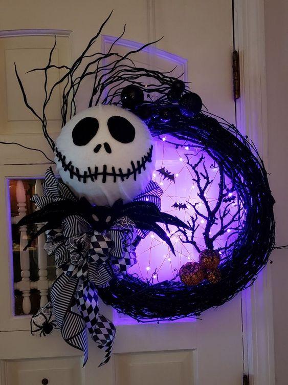 Lighted Jack Skellington Night Before Christmas Halloween wreath