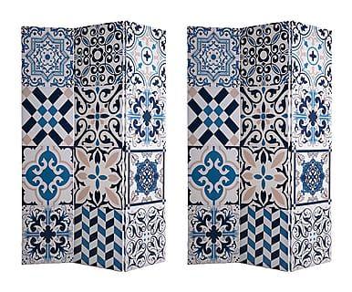 Biombo en canvas Bai, azul - 120x180 cm