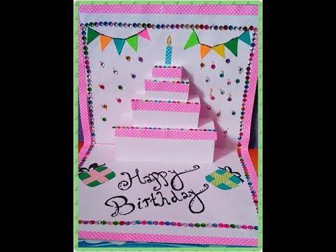Diy Cake Pop Up Card How To Make Birthday Pop Up Card Birthday Card 2 Art With Aliya Youtube Birthday Cards Happy Birthday Cards Birthday Card Design