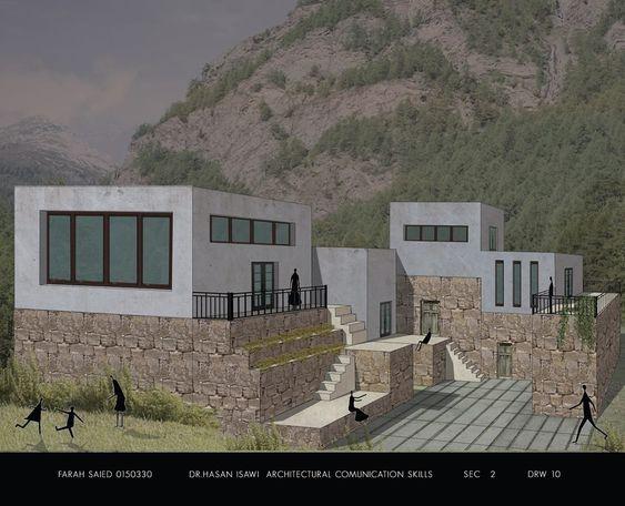 Farah Saeid Architectural Communication Skills- مهارات اتصال معماري لوحة11: تجرية الامتحان النهائي لمادة مهارات اتصال معماري حول تصميم الجديد كامتداد للنمط القديم ولكن بشكل حديث