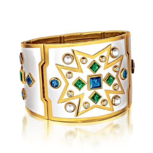 Verdura Chevalier Cuff.     Emerald, sapphire, pearl, diamond, white enamel and 18kt gold, with precision hinge.