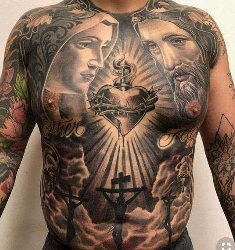 200 Sacred Heart Tattoo Designs For Men And Women Update 2020 Sacred Heart Tattoos Chest Tattoo Men Torso Tattoos