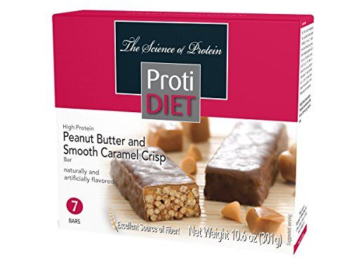 Protidiet Peanut Butter And Smooth Caramel Crisp High Protein Bars Box Of 7 Net Wt 10 6oz No Calorie Snacks Meal Replacement Bars High Protein Bars