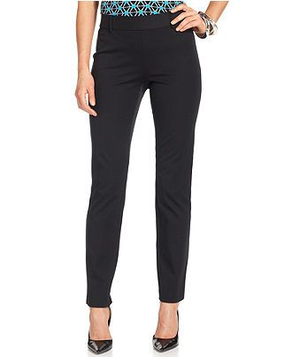 Alfani Pants, Skinny Ankle Comfort-Waist - Pants & Capris - Women - Macy's (Super mega ultra awesome everyday pants. The cut looks fancy, but they are comfortable and easy to wear with all kinds of tops.)