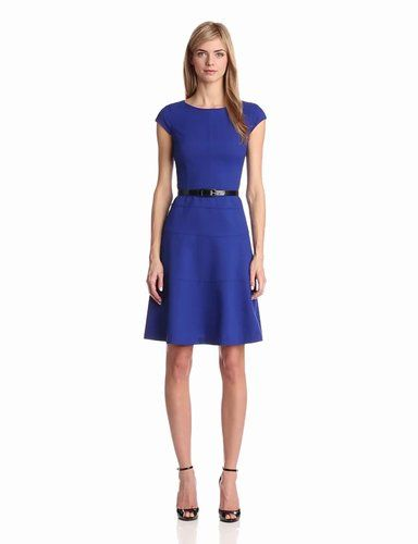 Anne Klein Women's Cap Sleeve Scoopneck Solid Dress,Klein Blue,12
