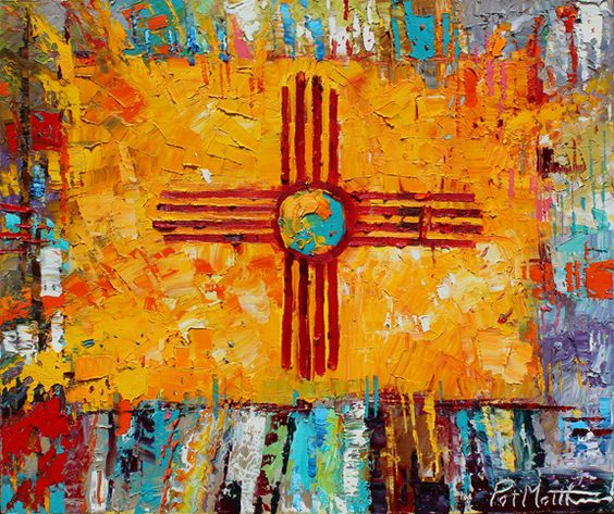 ZIA painting by painter Patrick Matthews in Santa Fe. The zia is the symbol on the state flag for New Mexico.