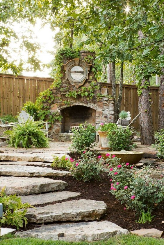 Decorate the outdoor area in a unique and different pattern with having this appealing landscaping idea a part of it. The smart incorporation of different plants and stylish ideas is making this landscape one of the best in all. The attractive designing of the area with fireplace will make the cold nights fabulous for you.