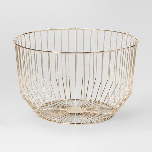 Gold Wire Basket, Large Round Wire Basket