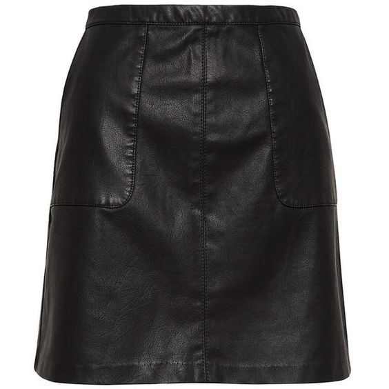 A Line Black Leather Skirt