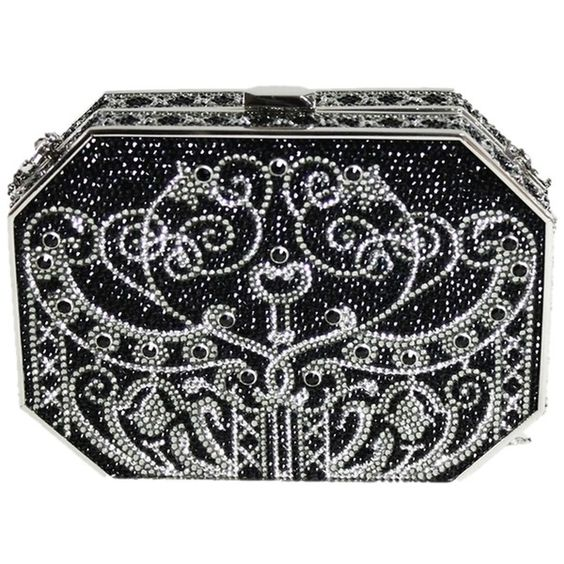 Pre-owned Judith Leiber Crystal Evening Black Clutch (€1.740) ❤ liked on Polyvore featuring bags, handbags, clutches, black, evening bags clutches, crystal minaudiere, clear handbags, judith leiber minaudiere and crystal evening bag