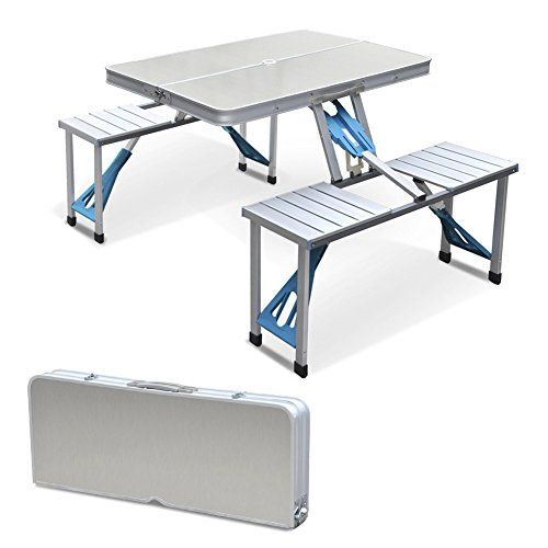 Rokoo Aluminum Folding Camping Table Portable Outdoor Suitcase Picnic Table With 4 Connected Seats Camping Table Folding Camping Table Picnic Table
