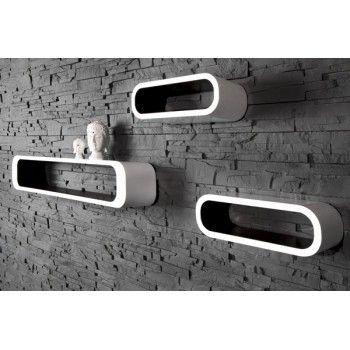 Retro design floating shelves in white and black 3pcs wooden shelving unit - www.neofurn.co.uk