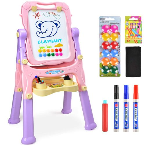Amagoing Easel For Kids 4 In 1 Multifunctional Standing Art Easel Double Sided Drawing For Kids Toddler Art Art Easel