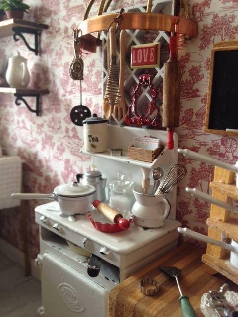 Miniature Kitchen cute play kitchen mini dollhouse dolls
