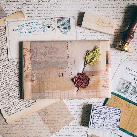 decorar sobres vintage