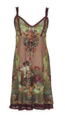 Tunic Dress by Michal Negrin w Spaghetti Straps, Lace Trim & Multicolor Crystals