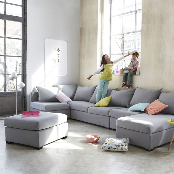 Lit mezzanine avec plan de travail tag res angles lion et canap s - Salon modulable tissu ...