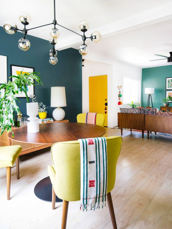 colorful open living and dining area