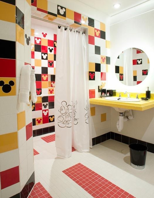 Mickey Mouse bathroom with stripes