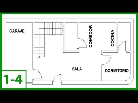 1 Autocad Como Dibujar Un Plano De Una Casa En Autocad 2015 Parte 1 4 Youtube Planos De Casas Dibujos De Planos Planos